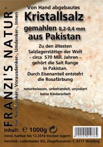 Kristallsalz gemahlen Mahlung 02-04mm 1000g